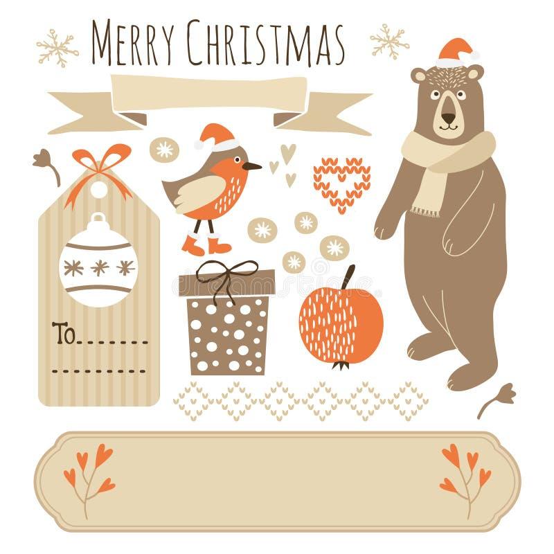 Sistema de los elementos gráficos de la Navidad linda, objetos ilustración del vector