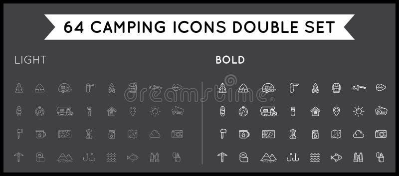 Sistema de los elementos Illus del deporte de la caza fina e intrépida del vector que acampan stock de ilustración