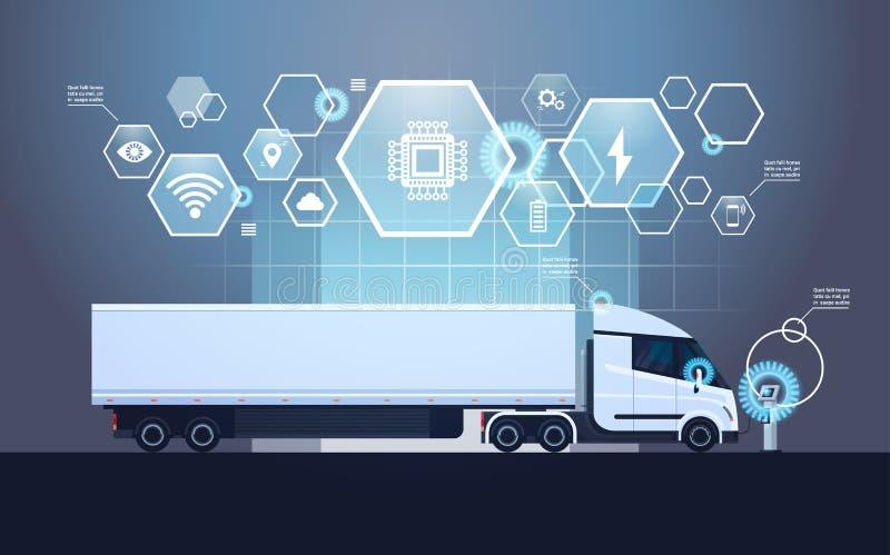 Sistema de los elementos de Infographic con semi el remolque moderno del camión que carga en la estación ecléctica del cargador ilustración del vector