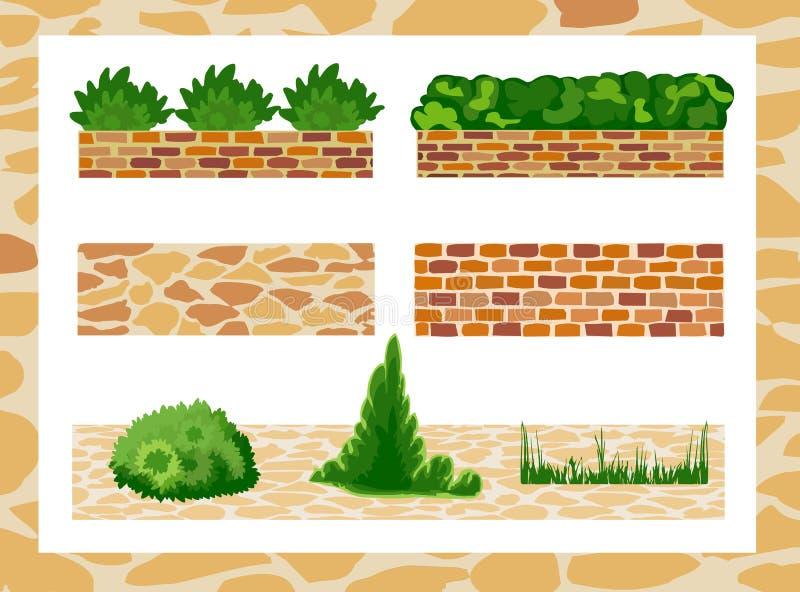 Sistema de los elementos para el diseño del paisaje libre illustration