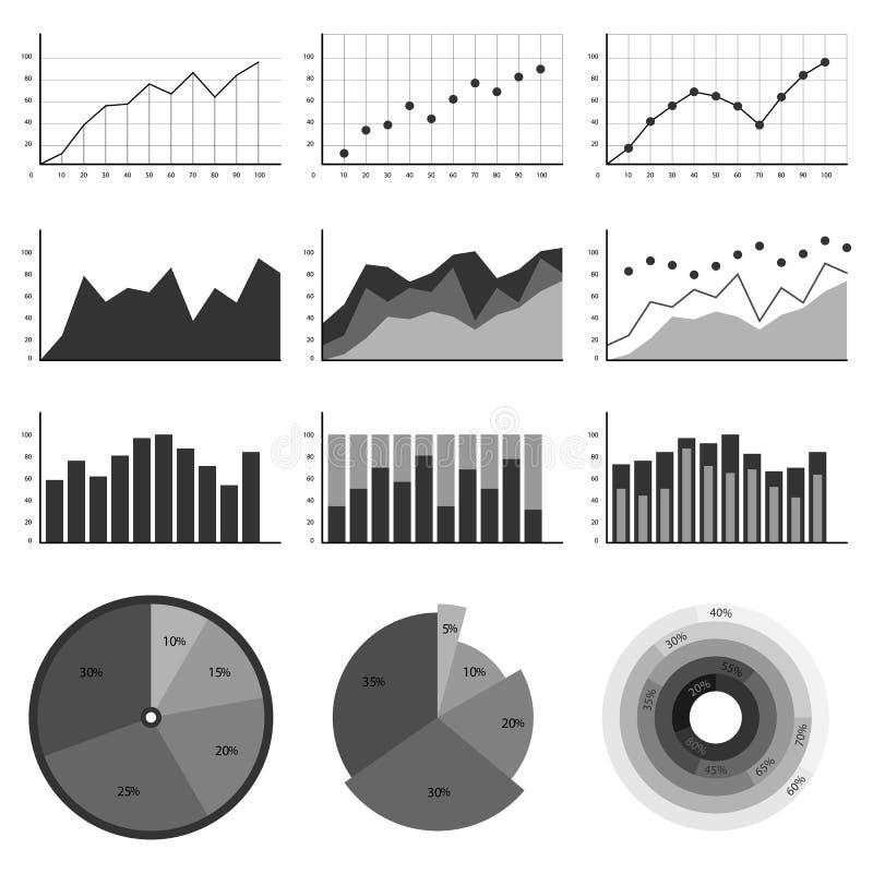 Sistema de los elementos para el infographics, cartas, gráficos, diagramas En ejemplos de color grises ilustración del vector