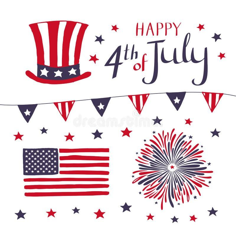 Sistema de los elementos patrióticos para celebrar el 4 de julio objetos americanos dibujados mano del vector del Día de la Indep ilustración del vector