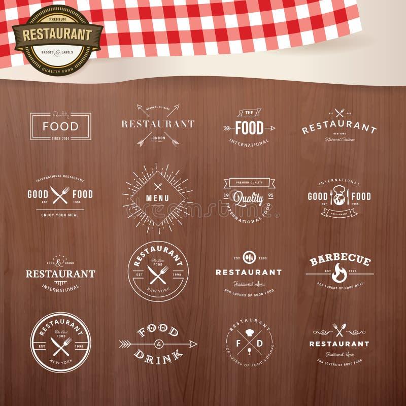 Sistema de los elementos styles del vintage para las etiquetas y de las insignias para los restaurantes stock de ilustración