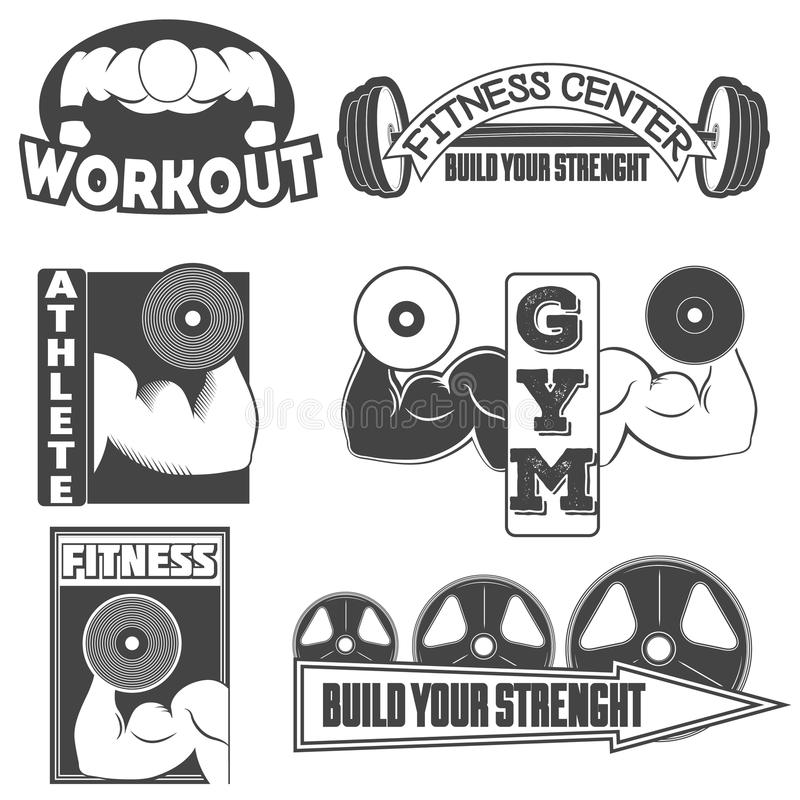 Sistema de los emblemas monocromáticos de la aptitud, de las etiquetas, de las insignias, de los logotipos y de los elementos dis foto de archivo libre de regalías