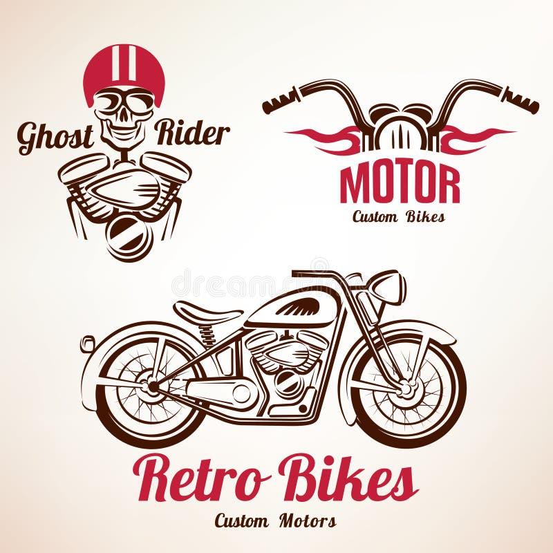 Sistema de los emblemas y de etiquetas de las motos stock de ilustración