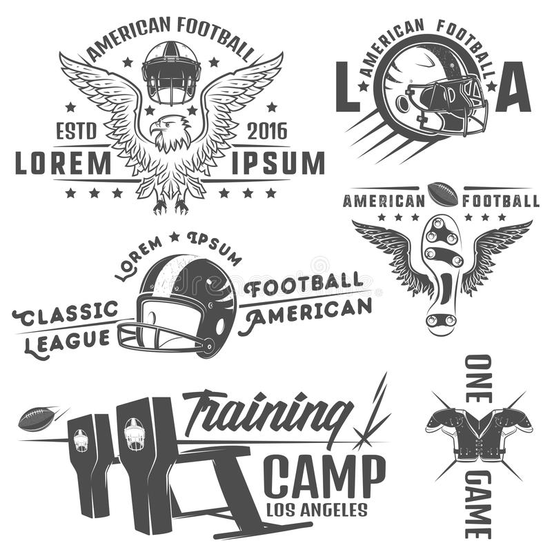 Sistema de los emblemas y del logotipo del fútbol americano libre illustration