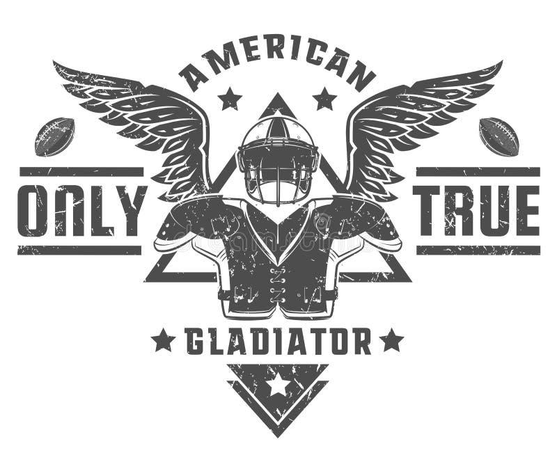 Sistema de los emblemas y del logotipo del fútbol americano ilustración del vector