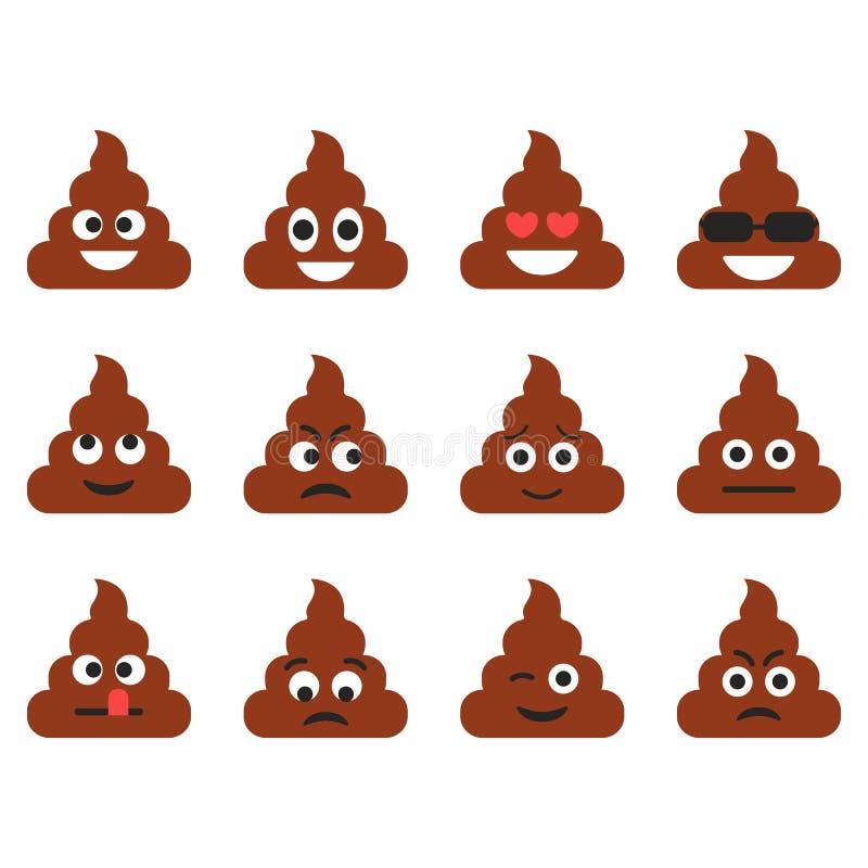 Sistema de los emoticons del impulso Iconos lindos del emoji Emociones de la historieta Ilustración del vector stock de ilustración