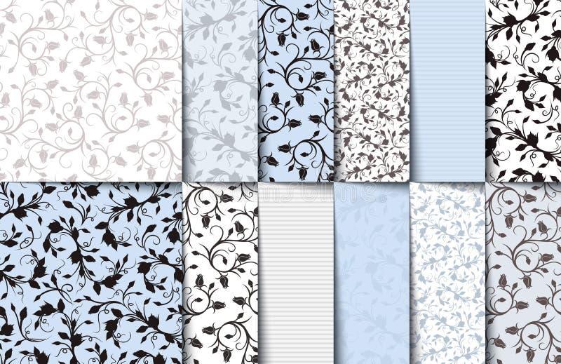 Sistema de los estampados de flores inconsútiles del azul, blancos y grises Ilustración del vector stock de ilustración