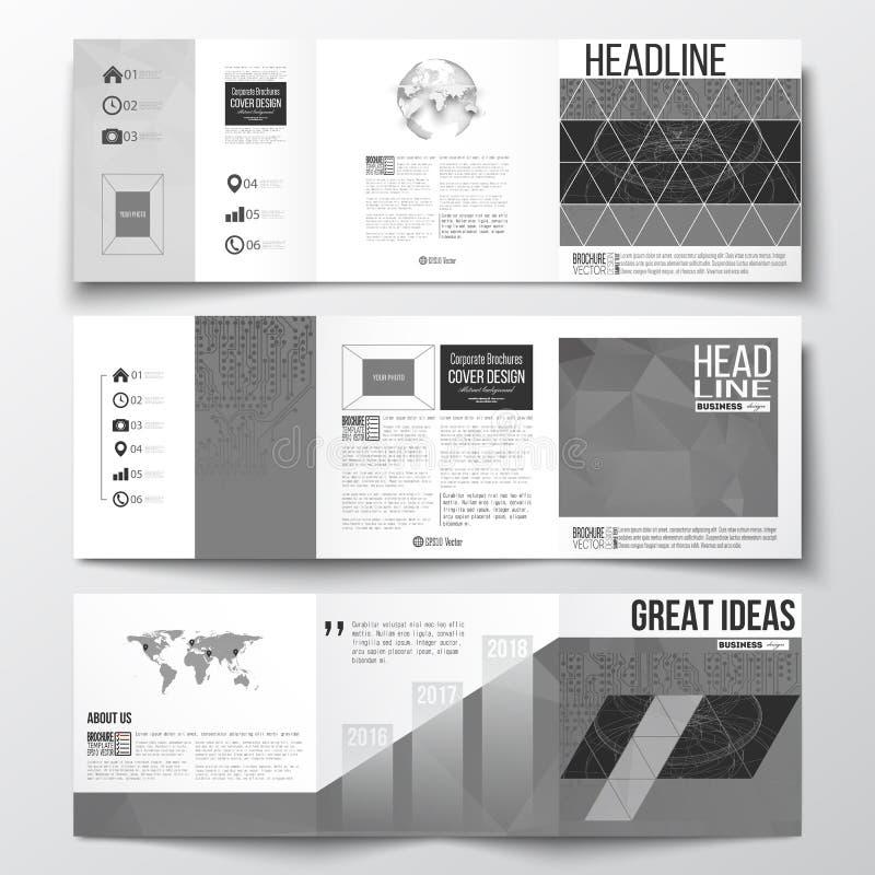 Sistema de los folletos triples, plantillas cuadradas del diseño Fondo del microchip, circuitos eléctricos, construcción abstract stock de ilustración