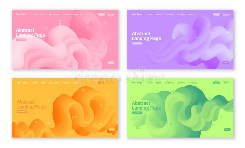 Sistema de los fondos abstractos para la página de aterrizaje con las formas líquidas en colores amarillos, verdes, violetas y ro stock de ilustración
