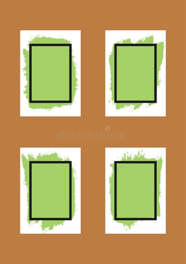 Sistema de los fondos del grunge para el diseño Hojas de papel con la pintura y el marco de espray para el texto stock de ilustración