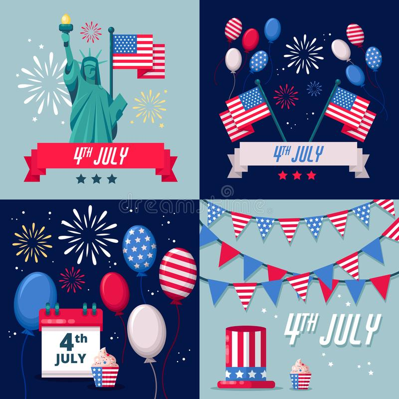 Sistema de los fondos del vector del día de fiesta de los E.E.U.U., iconos, etiquetas engomadas 4 de la tarjeta de felicitación d ilustración del vector