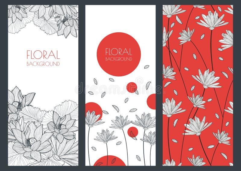 Sistema de los fondos florales de la bandera del vector y del modelo inconsútil Li stock de ilustración