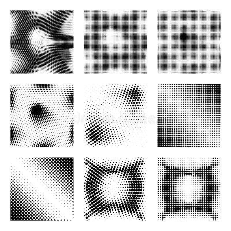 Sistema de los fondos de semitono del vintage del Grunge Tinta Dots Texture Design Elements Modelos para el diseño de cómic retro stock de ilustración