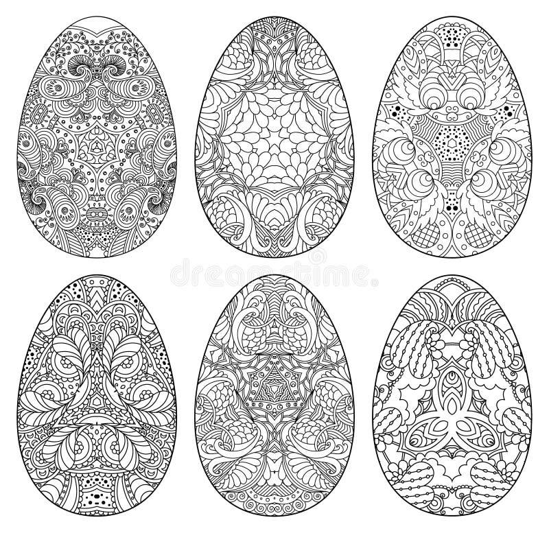 Sistema de los huevos de Pascua blancos y negros decorativos fotografía de archivo