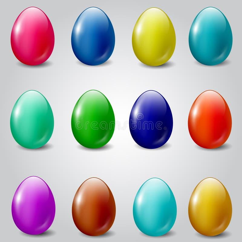 Sistema de los huevos de Pascua coloreados llanos libre illustration