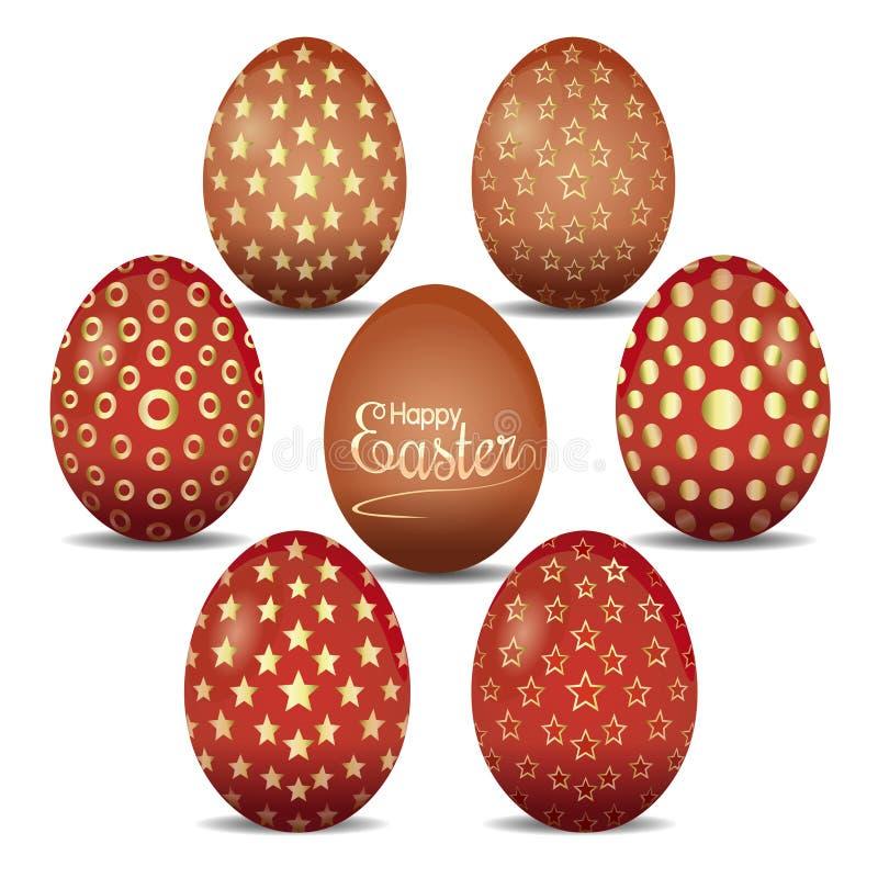 Sistema de los huevos de Pascua lindos con los ornamentos de oro libre illustration