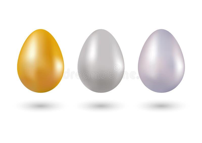 Sistema de los huevos metálicos oro, plata y platino en el vector 3d Objetos para el diseño creativo Tres formas en de oro, plata libre illustration