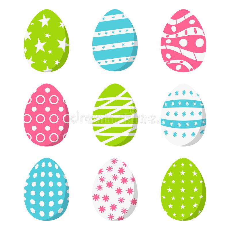 Sistema de los huevos de Pascua del color, aislado en el fondo blanco Ilustración del vector ilustración del vector