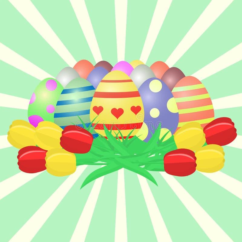 Sistema de los huevos de Pascua multicolores con los modelos y un ramo de tulipanes amarillos y rojos contra un fondo de rayos ve libre illustration