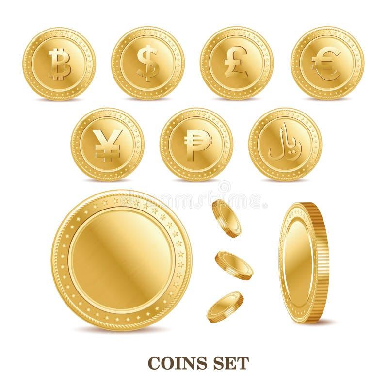 sistema de los iconos aislados de oro de la moneda de las finanzas de la moneda ilustración del vector