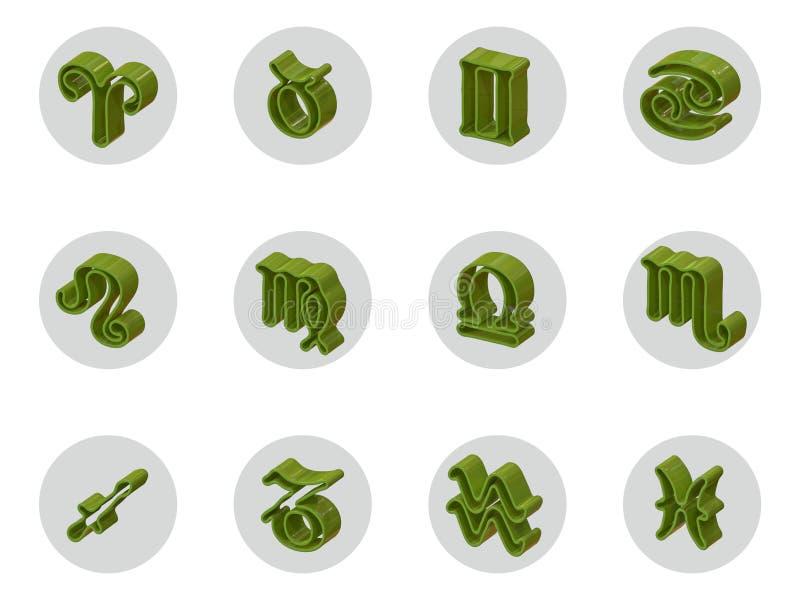 Sistema de los iconos aislados del zodiaco 3D para el web y la impresión ilustración del vector