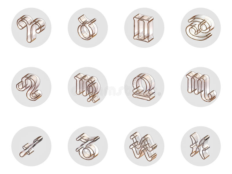 Sistema de los iconos aislados del zodiaco 3D para el web y la impresión stock de ilustración