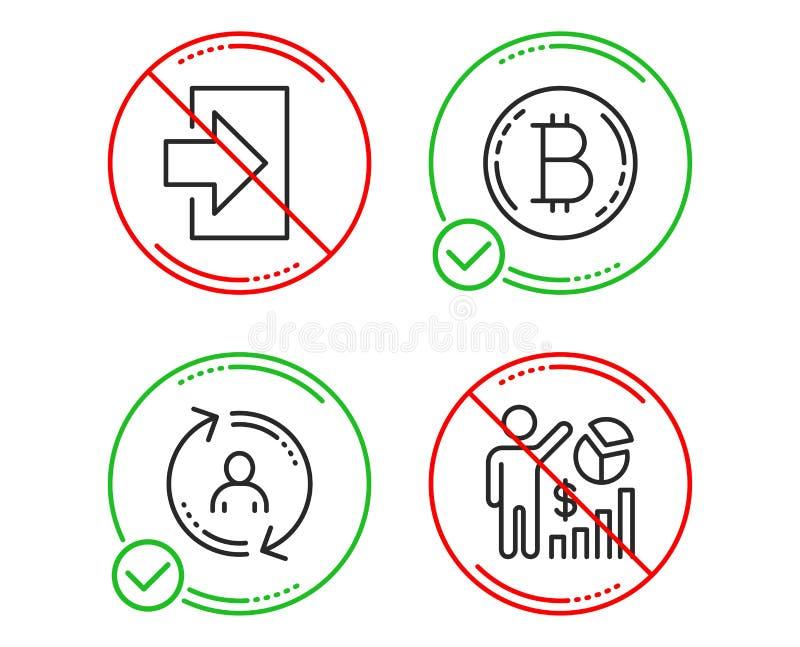 Sistema de los iconos de Bitcoin, de la informaci?n sobre el usuario y de la clave Las estad?sticas de Seo firman La moneda de Cr ilustración del vector