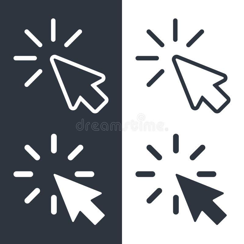Sistema de los iconos de los cursores stock de ilustración