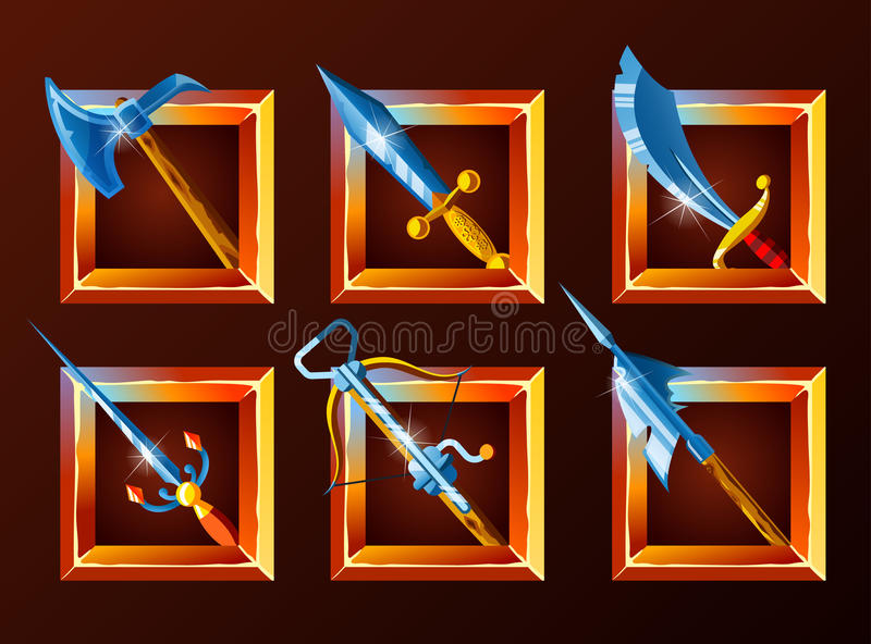 Sistema de los iconos de la decoración para los juegos libre illustration