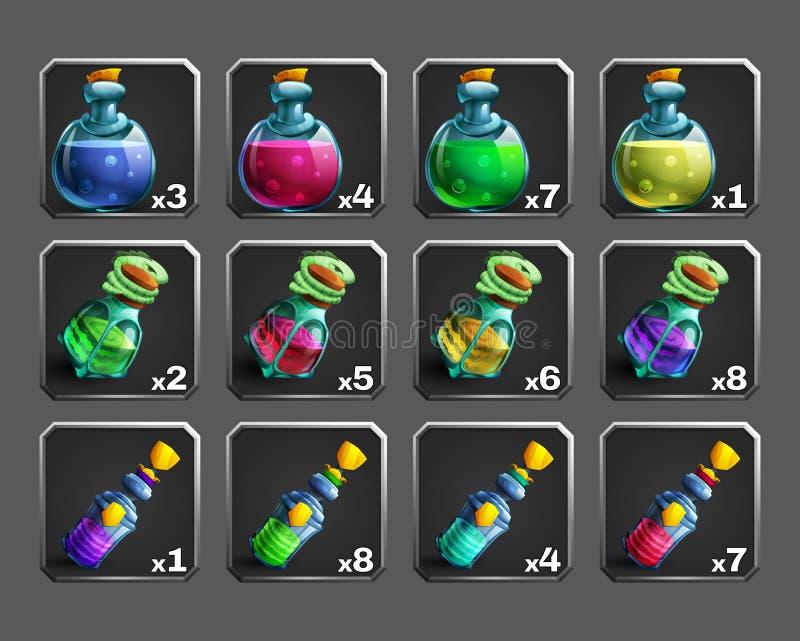 Sistema de los iconos de la decoración para los juegos Botellas de poción ilustración del vector