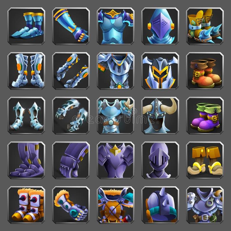 Sistema de los iconos de la decoración para los juegos Colección de armaduras medievales libre illustration
