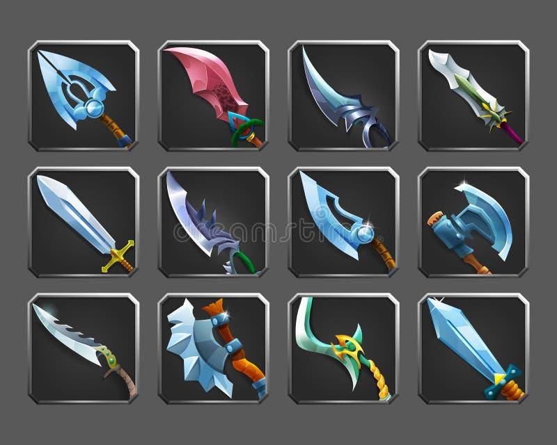 Sistema de los iconos de la decoración para los juegos Colección de armas medievales ilustración del vector