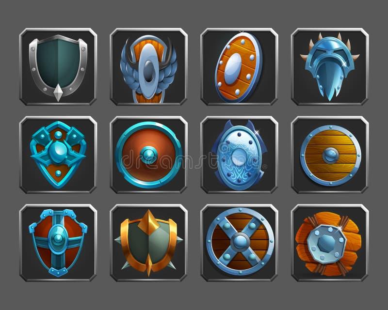 Sistema de los iconos de la decoración para los juegos Colección de escudos medievales libre illustration