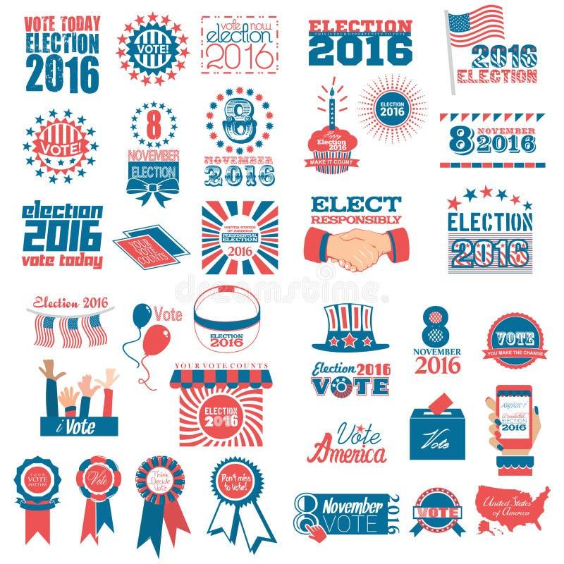 Sistema de los iconos 2016 de la elección ilustración del vector