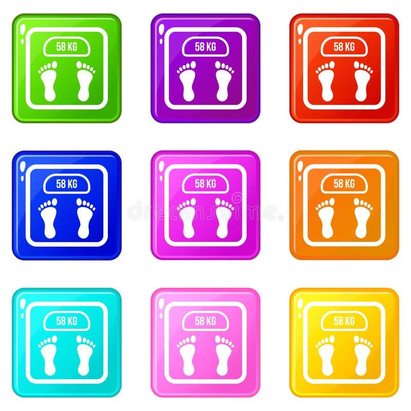 Sistema de los iconos 9 de la escala del peso libre illustration