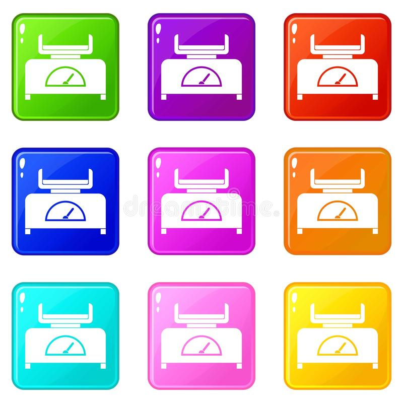 Sistema de los iconos 9 de la escala del peso ilustración del vector
