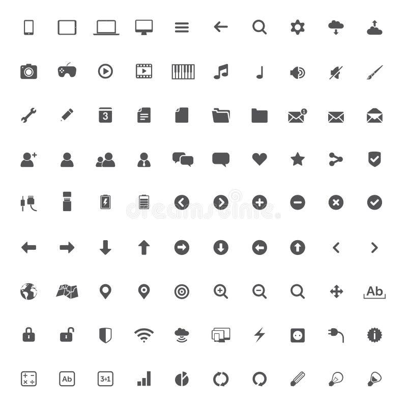 Sistema de los iconos de las multimedias para el web y el móvil stock de ilustración