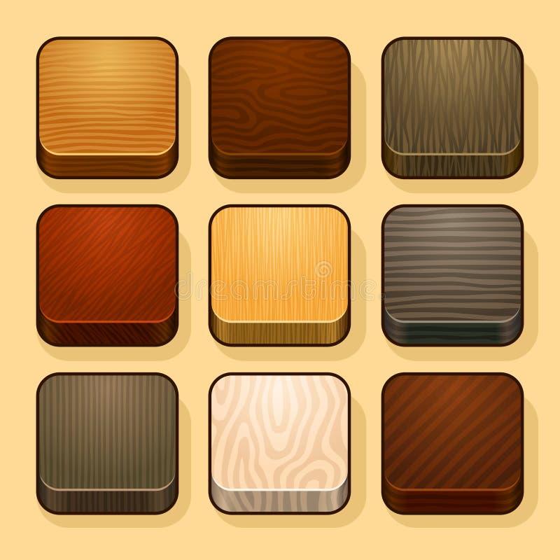 Sistema de los iconos de madera del IOS stock de ilustración