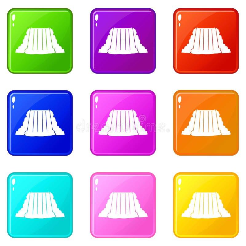 Sistema de los iconos 9 de Niagara Falls ilustración del vector