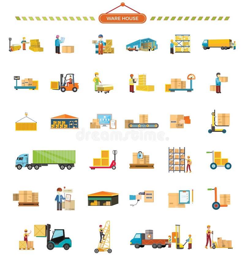 Sistema de los iconos de Warehouse en diseño plano stock de ilustración