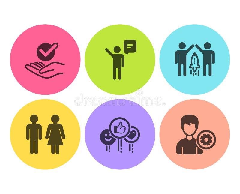 Sistema de los iconos del agente, del gusto y de la sociedad Lavabo, muestras aprobado y de la ayuda Vector ilustración del vector