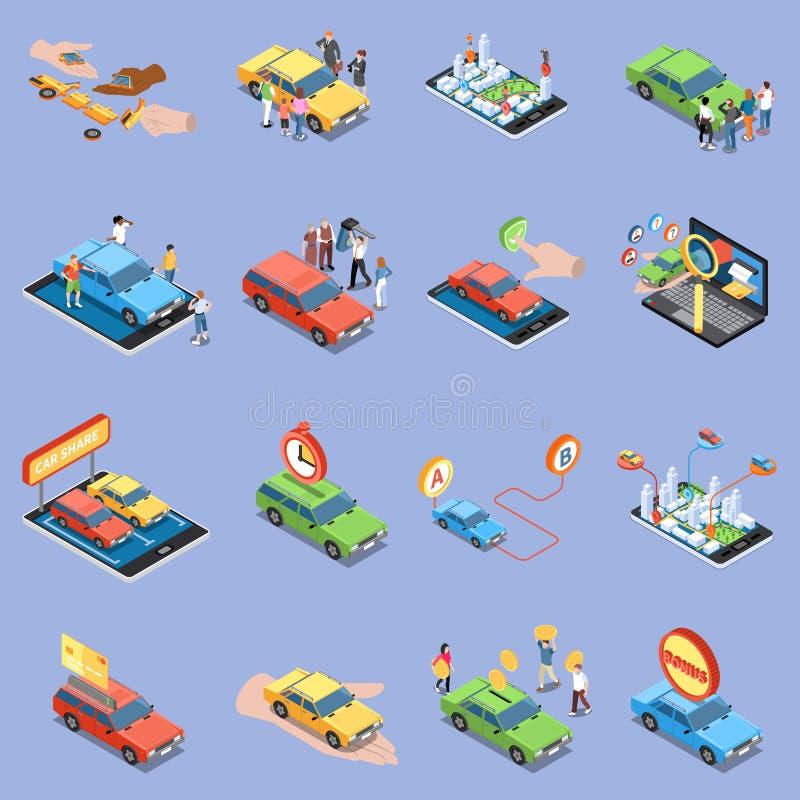 Sistema de los iconos del coche compartido libre illustration