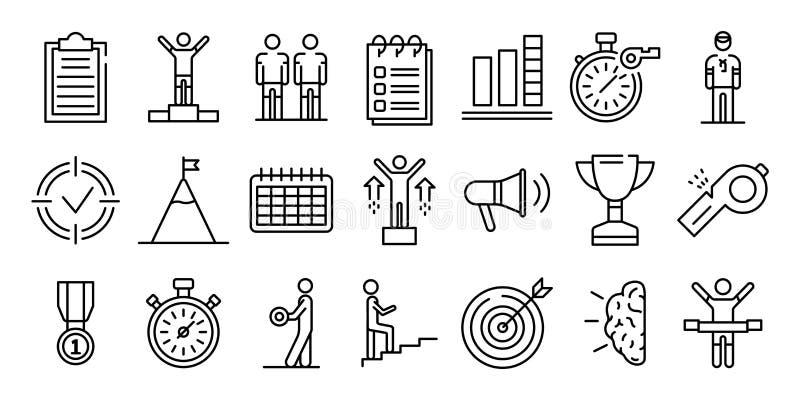 Sistema de los iconos del coche, estilo del esquema stock de ilustración