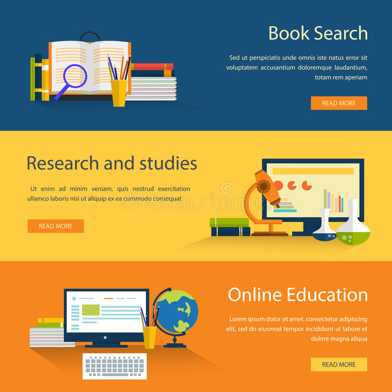 Sistema de los iconos del concepto de diseño para el web y el móvil stock de ilustración