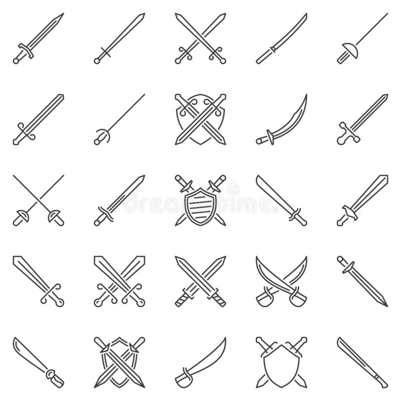 Sistema de los iconos del concepto del esquema de la espada Muestras cruzadas del vector de las espadas libre illustration