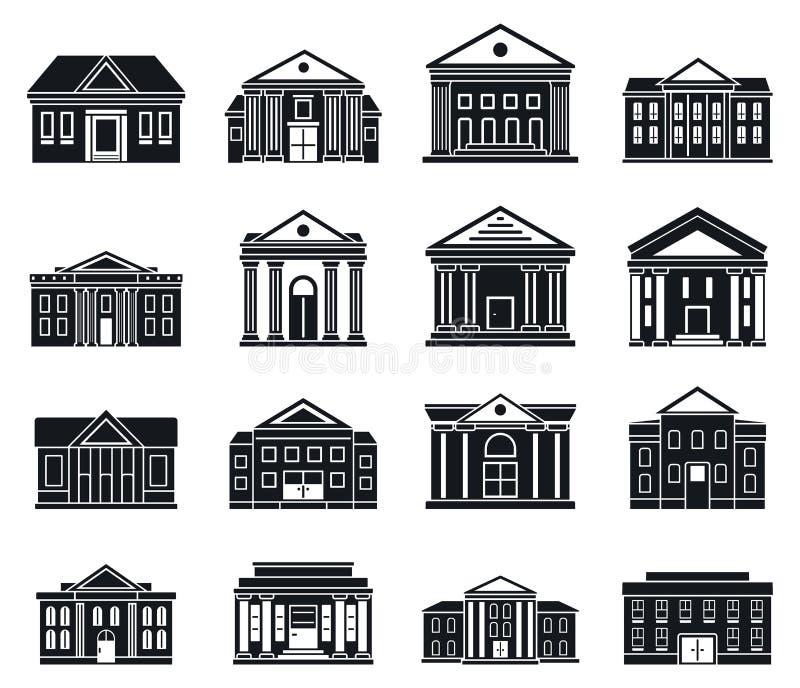 Sistema de los iconos del edificio del tribunal, estilo simple ilustración del vector
