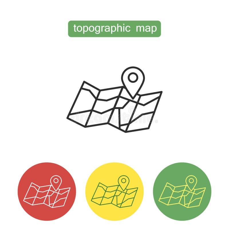 Sistema de los iconos del esquema del mapa topográfico libre illustration