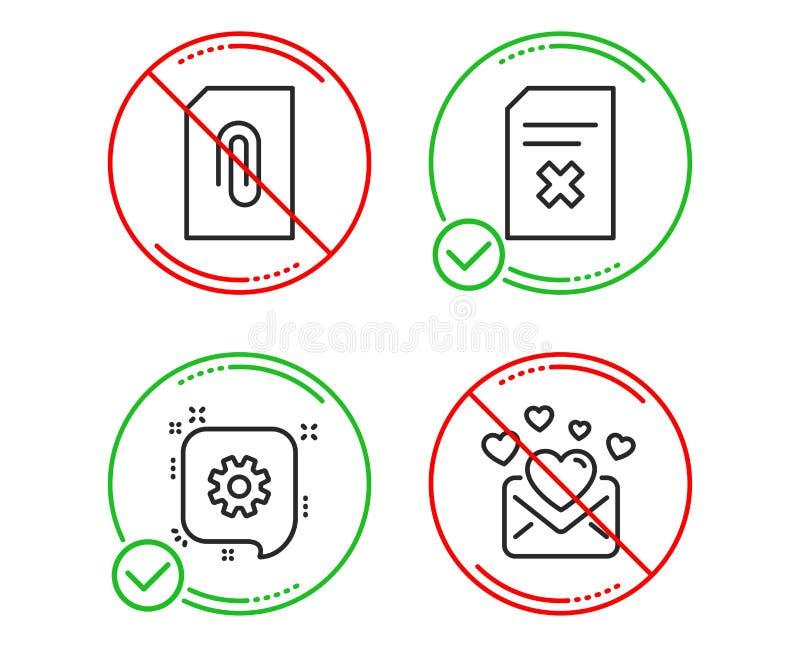Sistema de los iconos del fichero de la rueda dentada, del accesorio y de la cancelación Muestra del correo del amor La ingenierí ilustración del vector